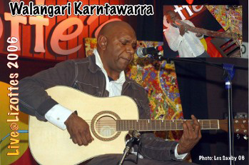 aboriginal musician walangari karntawarra performs live at Lizottes in 2006