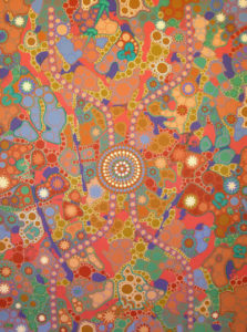 aboriginal painting water dreaming yellow by walangari karntawarra
