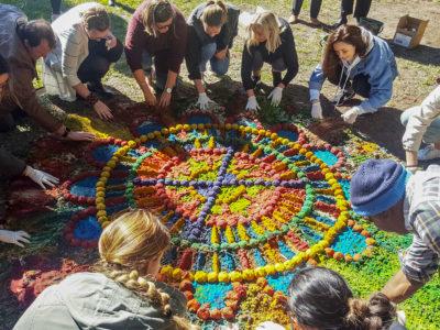 students staff university of sydney lidcombe walangari sustainable sand painting