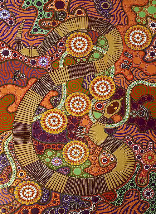 aboriginal painting snake dreaming 118 by walangari karntawarra