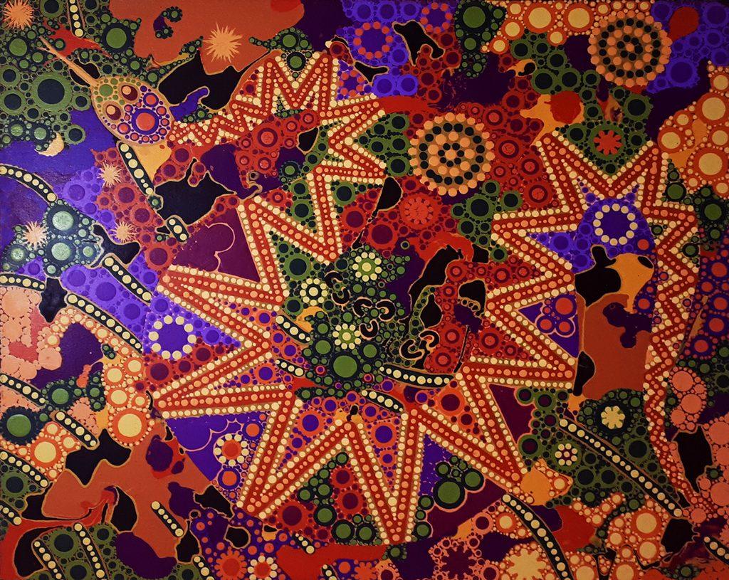 snake dreaming hidden 2 aboriginal painting by walangari karntawarra