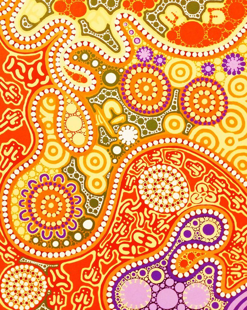 aboriginal painting family hunting and gathering 120 by walangari karntawarra